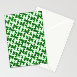 Green and White Greek Key Pattern Stationery Cards