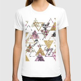 Chic Floral Gold Marble Geometric Triangles T-shirt