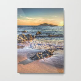 Sunset over Burgh Island from Bantham Metal Print