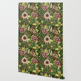 Green and Brown Floral Wallpaper