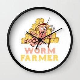 "Gardening Shirt For Gardeners Saying ""Worm Farmer"" T-shirt Design Hobby Garden  Farm Rake Wall Clock"