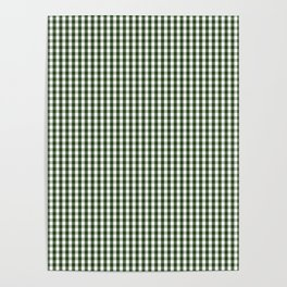 Small Dark Forest Green and White Gingham Check Poster