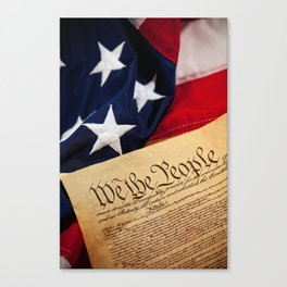 Constitution: Overhead View of USA Constitution and Flag Canvas Print
