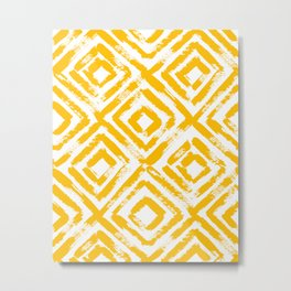 Amber Yellow Geometric Print Metal Print