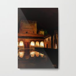 Court of the Myrtles by Night - Alhambra Metal Print