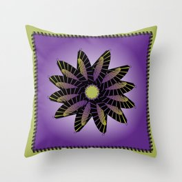 Purple Stitched Flower Throw Pillow
