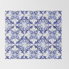 blue tile pattern VI - Azulejos, Portuguese tiles Throw Blanket