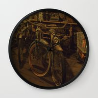 bicycles Wall Clocks featuring Bicycles by Gurevich Fine Art