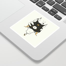 Two Headed Black Cat In Witch Hand Sticker
