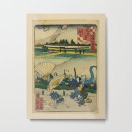 Ichiyôtei Yoshitaki - 100 Views of Naniwa:Distant View of the Namba-kura Storehouse  (1860s) Metal Print