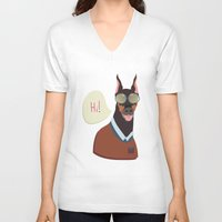 doberman V-neck T-shirts featuring Doberman by Holanes