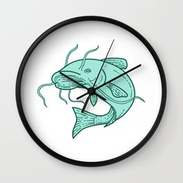 Catfish Mud Cat Jumping Mono Line Wall Clock