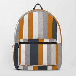 Mustard Navy Blue Grey Stripes, Abstract Retro Nautical Backpack