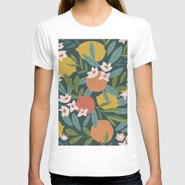Lemon Orange Citrus Blossoms Floral Seamless Pattern T-shirt