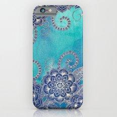 Mermaid's Garden - Navy & Teal Floral on Watercolor Slim Case iPhone 6