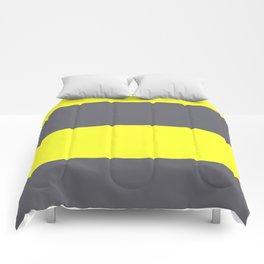 yellow and gray horizontal stripes Comforters