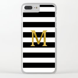 Customized Black and White Striped Clear iPhone Case