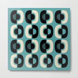 Retro Mid Century Modern Pattern 114 Black Beige and Turquoise Blue Metal Print