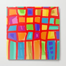 Colorful Grid Metal Print