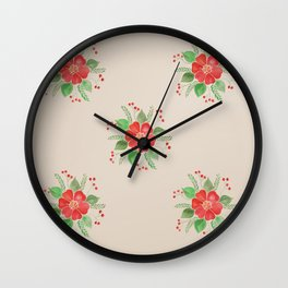 Red Pansies Wall Clock