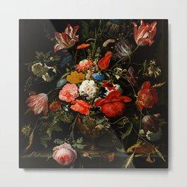 "Abraham Mignon ""Flowers in a Metal Vase"" c. 1670 Metal Print"