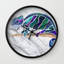 Blue Chameleon Dreams Wall Clock