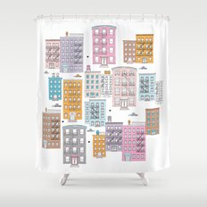 New York Brownstone Architecture - Pastel homes Shower Curtain