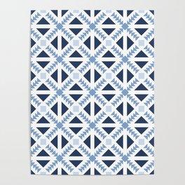 Geo Stamp Blue Poster