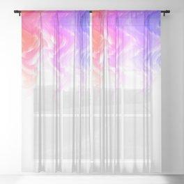 Rainbow smoke falling down, positive energy colourful pattern glitch Sheer Curtain