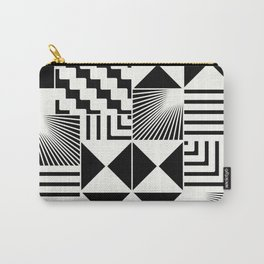 Mosaic Black And White Pattern Carry-All Pouch