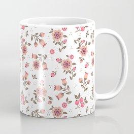 Folk floral pattern. Pink Flowers. Coffee Mug