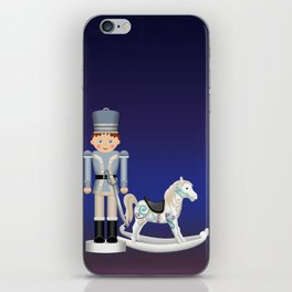 Toy Soldier with Rocking Horse on Christmas Eve iPhone Skin