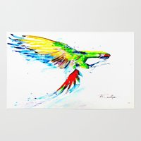 military Area & Throw Rugs featuring Military Macaw by ARealpe