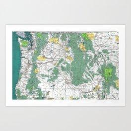 Pacific Northwest Map Kunstdrucke