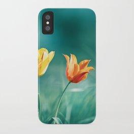 Teal Orange Nature Photography, Turquoise Yellow Tulips Photo, Aqua Teal Green Flower Art Print iPhone Case