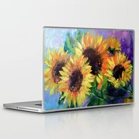 sunflowers Laptop & iPad Skins featuring Sunflowers by OLHADARCHUK