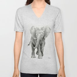 Baby Elephant Watercolor Unisex V-Neck
