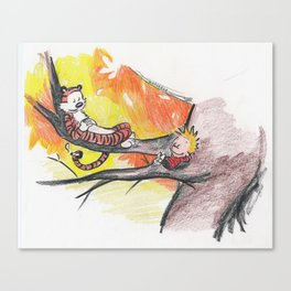 Calvin and Hobbes Relaxin' on a Summer Day Canvas Print