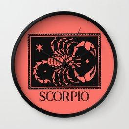Scorpio Vintage Zodiac on Living Coral Wall Clock