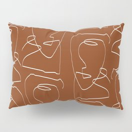 Line Art, Woman Face, Abstract Continues Line  Pillow Sham