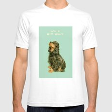 Spaniel White SMALL Mens Fitted Tee