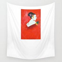 Red Wall Geisha Wall Tapestry