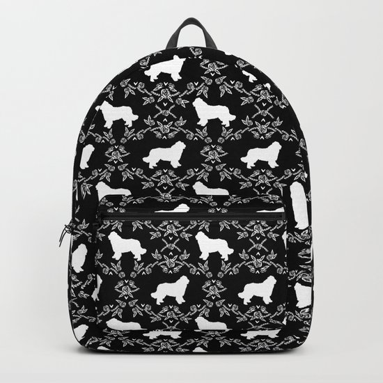 Newfoundland floral silhouette dog breed pattern gifts by petsilhouettes