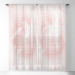 Floral coral - Romantic illusion of roses in seamless stripes Sheer Curtain