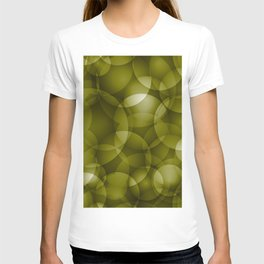 Dark intersecting translucent olive circles in bright colors with an oily glow. T-shirt