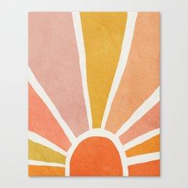 Sun, Mid century modern kids wall art, Nursery room Canvas Print