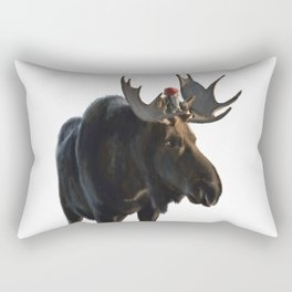 Winter Gnome on Moose Rectangular Pillow