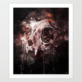 Tattoo cat skull watercolor painting | Original Design Art Print