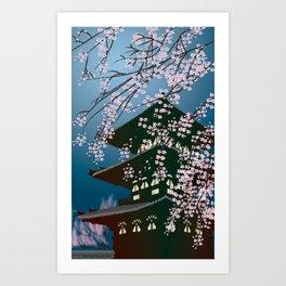 Night at the Pagoda Art Print