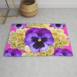 PURPLE PANSY FLOWERS & IVORY ROSES  PINK ART Rug